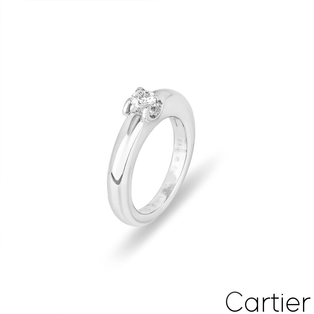Cartier White Gold Diamond C De Cartier Ring Size 48